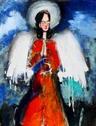 People art,Religion art,mixed media artwork,Angel of the Bright Blue Sky
