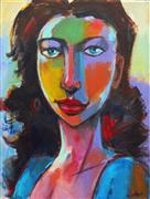 Expressionism art,People art,acrylic painting,Girl's Face in March