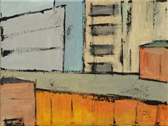 abstract art,buildings art,city art,acrylic painting,Brooklyn 7