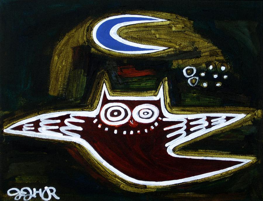 Original art for sale at UGallery.com | Owl and Moon #2 by JESSICA JH ROLLER | $300 |  | 11' h x 14' w | ..\art\acrylic-painting-Owl-and-Moon-2