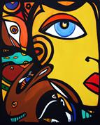 children's art,fantasy art,people art,acrylic painting,Totem