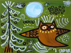 children's art,expressionism art,fantasy art,animals art,acrylic painting,Storybook Owl