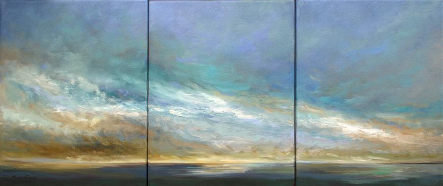 Original art for sale at UGallery.com | Coastal Clouds XI by SHEILA FINCH | $2,750 | Oil painting | 14' h x 33' w | ..\art\oil-painting-Coastal-Clouds-XI