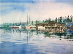 Landscape art,Seascape art,Vroom Vroom! art,watercolor painting,Angry Trout Marina