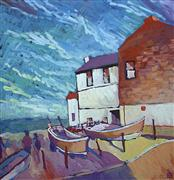 buildings art,landscape art,seascape art,acrylic painting,Lure of the Sea