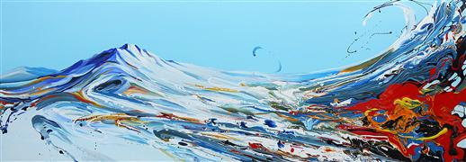 fantasy art,landscape art,surrealism art,acrylic painting,Mountain Wind