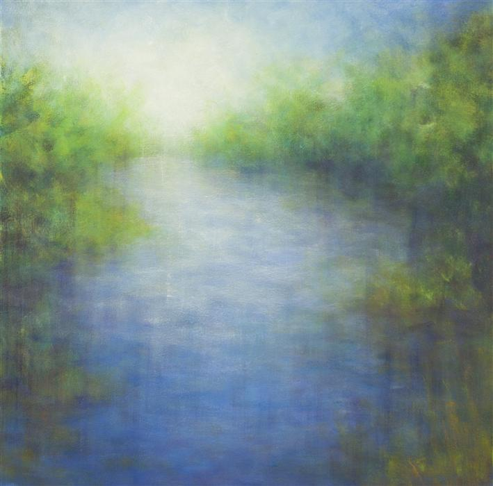 Original art for sale at UGallery.com | View from the Bridge by VICTORIA VEEDELL | $1,800 |  | 30' h x 30' w | ..\art\oil-painting-View-from-the-Bridge