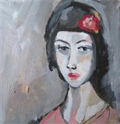 impressionism art,people art,acrylic painting,Sullen Woman