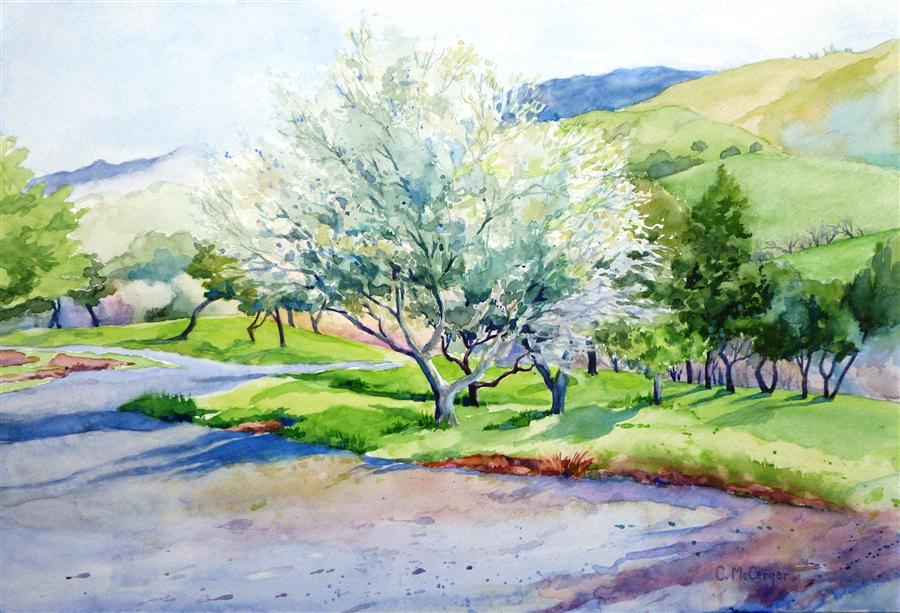 Original art for sale at UGallery.com | Spring in the Foothills by CATHERINE MCCARGAR | $650 | Watercolor painting | 12' h x 17.5' w | ..\art\watercolor-painting-Spring-in-the-Foothills