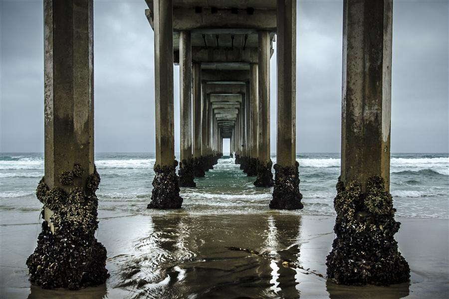 Original art for sale at UGallery.com | Scripps Pier by Ronald Erskine | $375 | photography | 36' h x 24' w | ..\art\photography-Scripps-Pier