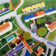 Architecture art,Landscape art,acrylic painting,County Cross Roads