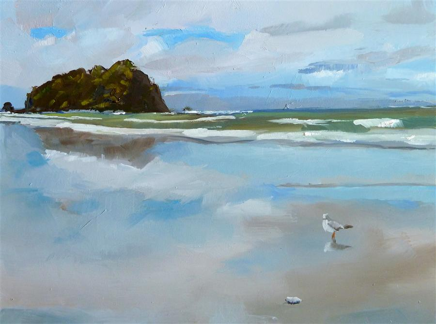 Original art for sale at UGallery.com | Beach Reflections by GARY BRUTON | $525 | Oil painting | 9' h x 12' w | ..\art\oil-painting-Beach-Reflections