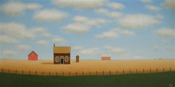 Architecture art,Landscape art,Surrealism art,acrylic painting,Behind the Old Fence Line