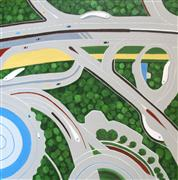 landscape art,vroom vroom! art,city art,acrylic painting,Dubai Roadways