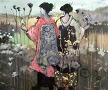 impressionism art,landscape art,people art,oil painting, Geisha Friends