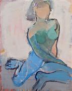 Expressionism art,Nudes art,People art,acrylic painting,Blue Legs