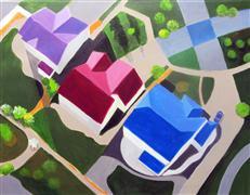 Architecture art,Landscape art,acrylic painting,Colorado Suburb