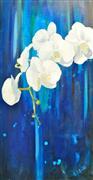 Nature art,Still Life art,Flora art,mixed media artwork,White Orchids II