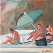 people art,seascape art,acrylic painting,Beach with Friends