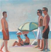 Impressionism art,People art,Seascape art,acrylic painting,Three Guys at the Beach