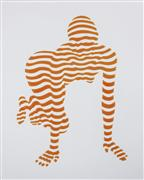 Nudes art,People art,Pop art,Representational art,mixed media artwork,Stripe Pose #4