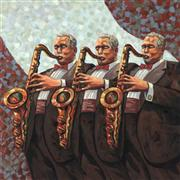 people art,pop culture art,oil painting,Sax Men