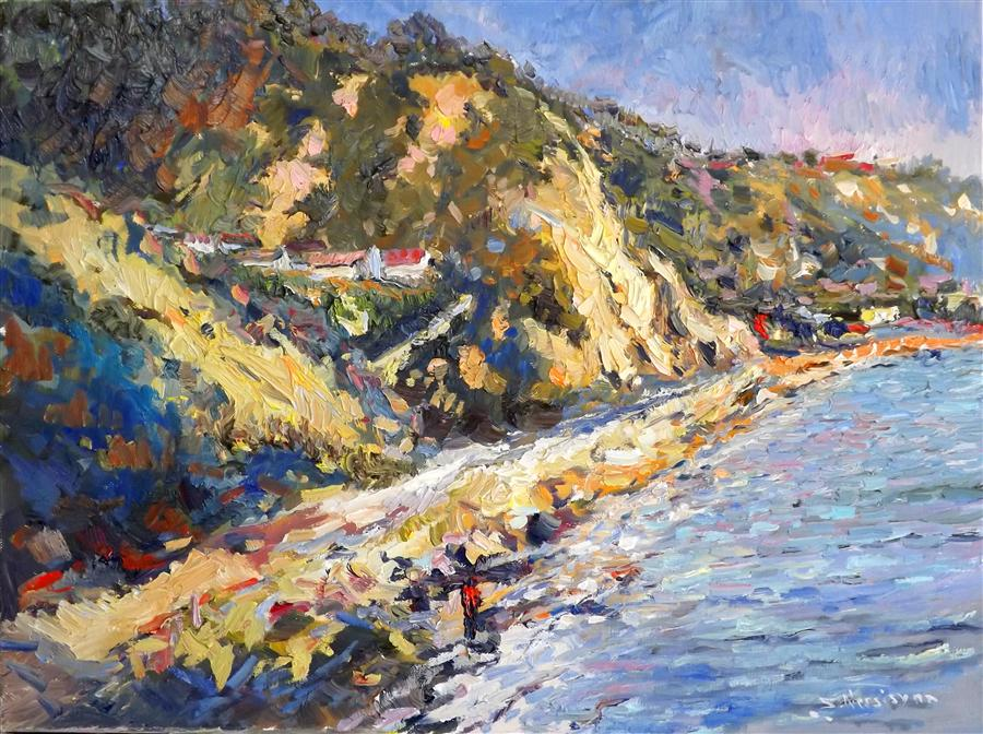Original art for sale at UGallery.com | Sunny California (Seashore in South California) by SUREN NERSISYAN | $825 | Oil painting | 18' h x 24' w | ..\art\oil-painting-Sunny-California-Seashore-in-South-California