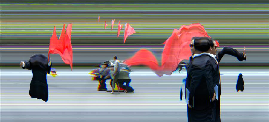 Original art for sale at UGallery.com | China in Motion, Red Flag by Ansen Seale | $25 | photography | 24' h x 12' w | ..\art\photography-China-in-Motion-Red-Flag