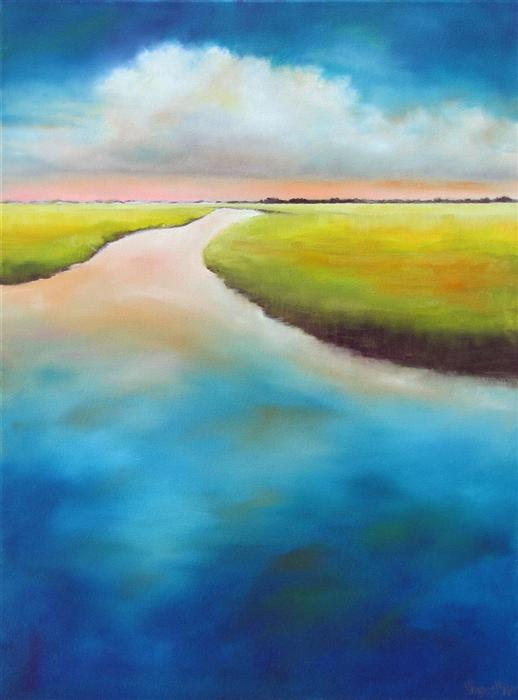 Original art for sale at UGallery.com | Inlet Marsh Cloud by NANCY HUGHES MILLER | $725 | Oil painting | 24' h x 18' w | ..\art\oil-painting-Inlet-Marsh-Cloud