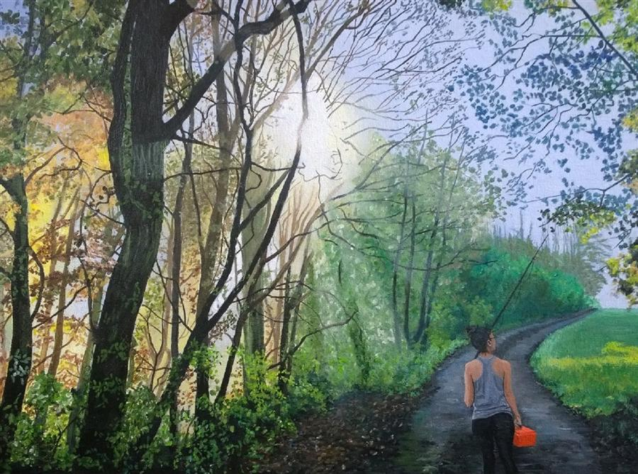 Original art for sale at UGallery.com | Fishing Creates Serenity of Mind by Patricia Freeman | $775 | mixed media artwork | 18' h x 24' w | ..\art\mixed-media-artwork-Fishing-Creates-Serenity-of-Mind