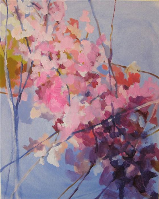 Original art for sale at UGallery.com | A Merging of Cherry Blossoms by COLETTE WIRZ NAUKE | $875 |  | 20' h x 16' w | ..\art\acrylic-painting-A-Merging-of-Cherry-Blossoms