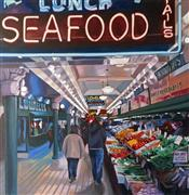 Pop art,Travel art,Cuisine art,Representational art,oil painting,Lowells at Pike Place Market