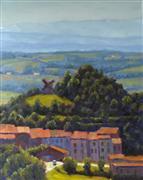 Impressionism art,Landscape art,Travel art,oil painting,Village and Windmill