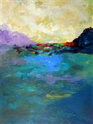 abstract art,landscape art,acrylic painting,A Day at the Lake