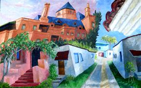 buildings art,surrealism art,city art,oil painting,In Old Hollywood