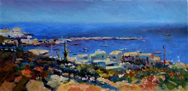 Impressionism art,Seascape art,Travel art,oil painting,Bright Sunny Day (Midday in Greek Islands)