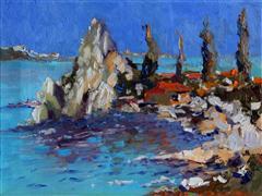 Impressionism art,Seascape art,Travel art,oil painting,White Rocks, (Blue Day)
