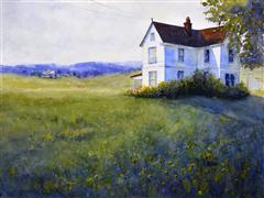 buildings art,landscape art,nature art,watercolor painting,The Homestead