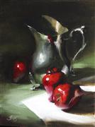 Still Life art,Classical art,Cuisine art,Representational art,oil painting,Apples and an Antique Pitcher