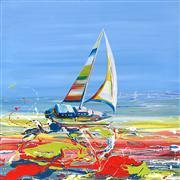 Seascape art,Surrealism art,Vroom Vroom! art,acrylic painting,Sailing with the Wind