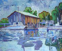 Impressionism art,Seascape art,acrylic painting,Moored