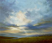 landscape art,seascape art,oil painting,Heavenly Light III