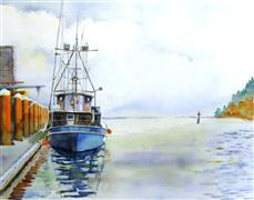 seascape art,vroom vroom! art,watercolor painting,Working Boat No. 2 Newport Bay, Oregon