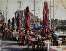 impressionism art,people art,seascape art,city art,oil painting,Sidewalk Cafe in Honfleur