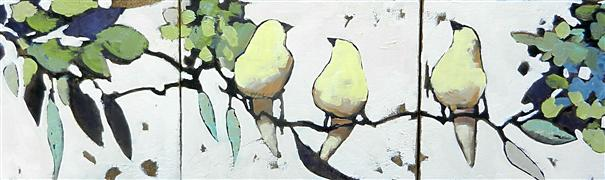 impressionism art,animals art,oil painting,Yellow Birds