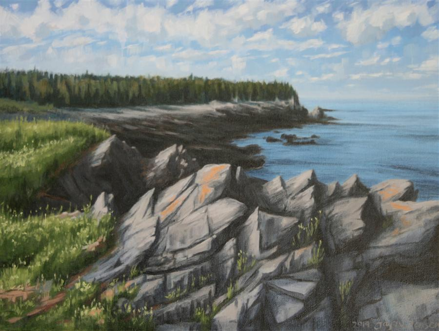 Original art for sale at UGallery.com | Campobello Rocks by JAY JENSEN | $775 |  | 14' h x 18' w | ..\art\oil-painting-Campobello-Rocks