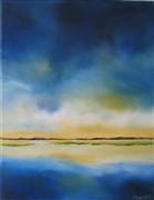 abstract art,landscape art,seascape art,oil painting,Cobalt Sky Marsh
