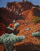 Landscape art,Nature art,Western art,oil painting,Fire Cliffs with Holly