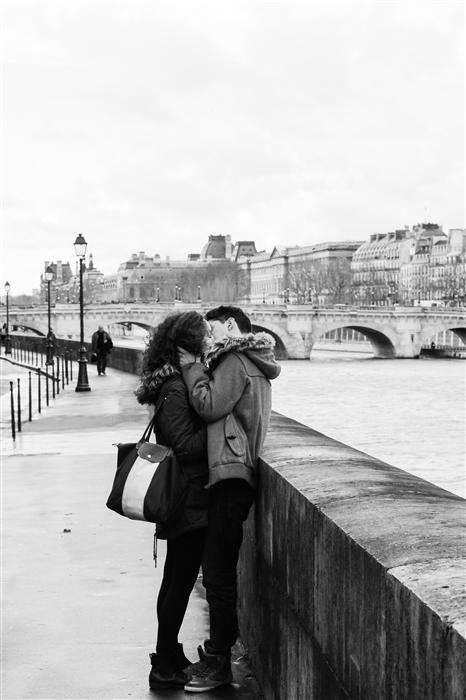 Original art for sale at UGallery.com | Kiss on the Seine by Rebecca Plotnick | $350 | photography | 36' h x 24' w | ..\art\photography-Kiss-on-the-Seine