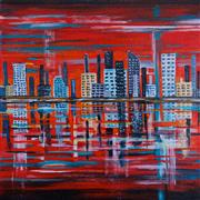 Abstract art,Architecture art,City art,acrylic painting,Manhattan in Red